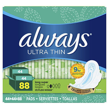 Always Ultra Thin Long Super Pads with Wings - 88 ct.